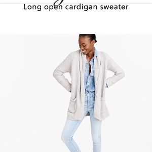 J. Crew long open cardigan sweater in flax